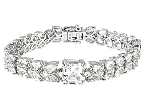 Photo of 9.68CTW CRYSTAL QUARTZ & .07CTW WHITE DIAMOND ACCENT RHODIUM OVER STERLING SILVER BRACELET - Size 7.25