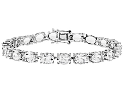 Photo of 19.09CTW OVAL CRYSTAL QUARTZ RHODIUM OVER STERLING SILVER BRACELET - Size 8