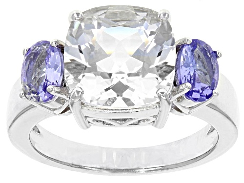 Photo of 3.58ct Crystal Quartz with .66ctw Tanzanite Rhodium Over Sterling Silver 3-Stone Ring - Size 9