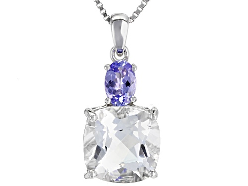 Photo of 3.58ct Crystal Quartz with .34ct Tanzanite Rhodium Over Sterling Silver Pendant with Chain