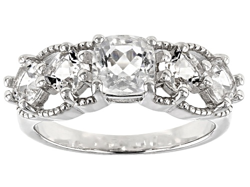 Photo of 1.65ctw Square Cushion Crystal Quartz Rhodium Over Sterling Silver 5-Stone Ring - Size 8
