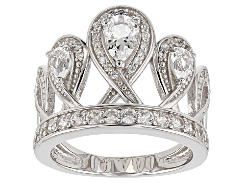 Photo of .47ct Crystal Quartz with .94ctw White Zircon Rhodium Over Sterling Silver Crown Design Ring - Size 8