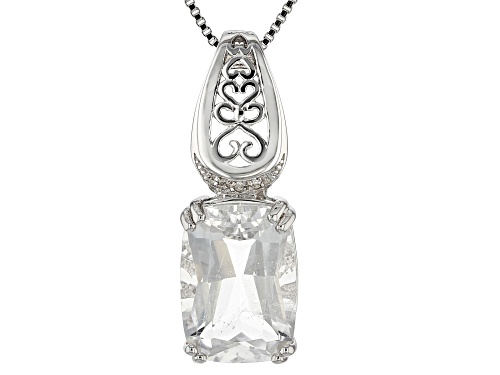 Photo of 5.25CT CRYSTAL QUARTZ AND .01CTW THREE DIAMOND ACCENT RHODIUM OVER SILVER PENDANT WITH CHAIN