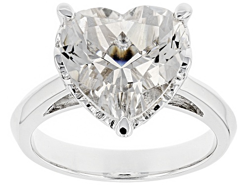Photo of 4.75ct Heart Shape Crystal Quartz Rhodium Over Sterling Silver Solitaire Ring - Size 5