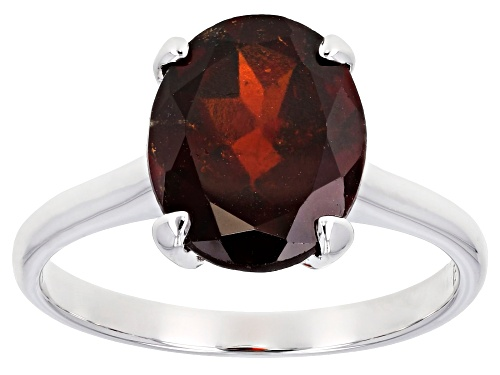 Photo of 3.65ct oval red hessonite garnet rhodium over 10k white gold solitaire ring. - Size 8