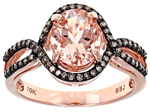 Photo of 1.42ct oval Cor-De-Rosa Morganite™ With .20ctw Round Champagne Diamond 10k Rose Gold Ring - Size 7