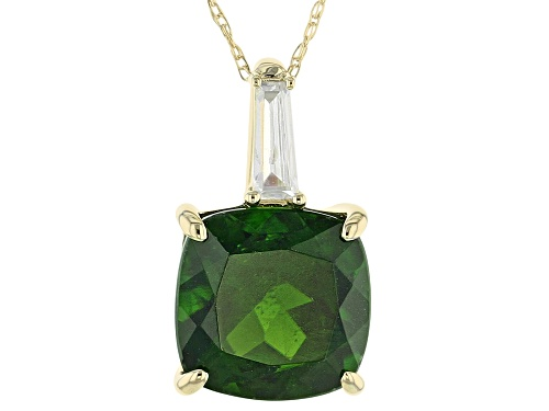 Photo of 3.05ct chrome diopside with 0.18ctw white zircon 10k yellow gold pendant with chain.