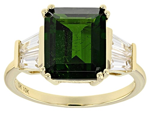 Photo of 3.58ct Rectangular Russian Chrome Diopside 1.11ct Tapered Baguette Zircon 10k Yellow Gold Ring - Size 5