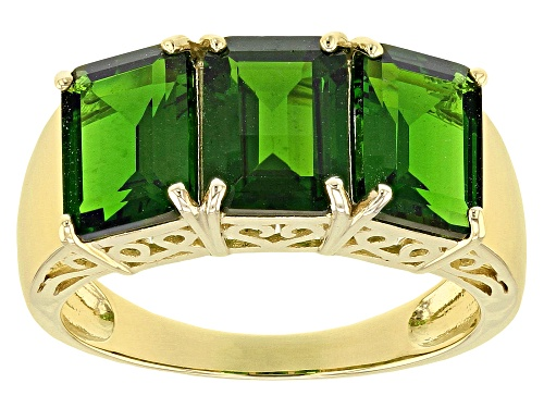 Photo of 4.10ctw Rectangular Octagonal Russian Chrome Diopside 10k Yellow Gold Ring - Size 6
