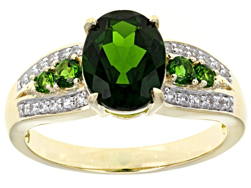 Photo of 1.87ctw Oval And Round Russian Chrome Diopside With.14ctw Round White Zircon 10k Yellow Gold Ring - Size 7