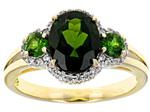 Photo of 2.01ctw Oval And Round Russian Chrome Diopside With .20ctw Round White Zircon 10k Yellow Gold Ring - Size 7