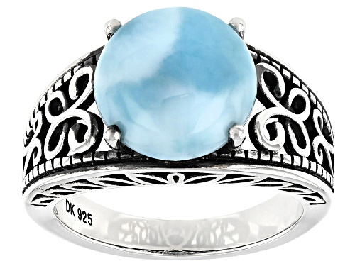 Photo of 11mm Round Cabochon Larimar Rhodium Over Silver Solitaire Ring - Size 8