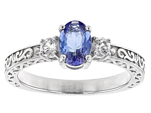 Photo of 0.28ctw Oval tanzanite with 0.75ct round lab Created sapphire rhodium over sterling silver ring - Size 10