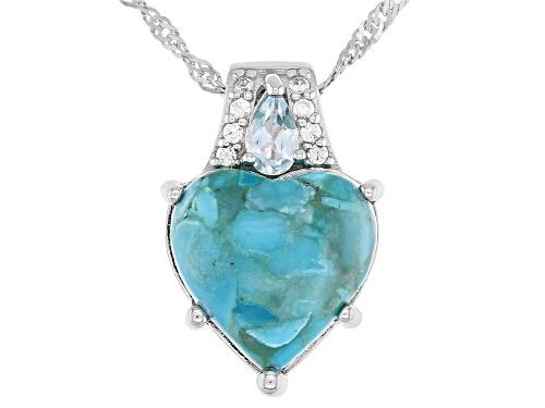 Photo of 12mm Heart Shape Turquoise, .32ctw Topaz & Zircon Rhodium Over Silver Pendant W/ Chain