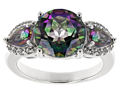 Photo of 3.63ctw Multi-Color Quartz With .20ctw White Zircon Rhodium Over Sterling Silver 3-Stone Ring - Size 7