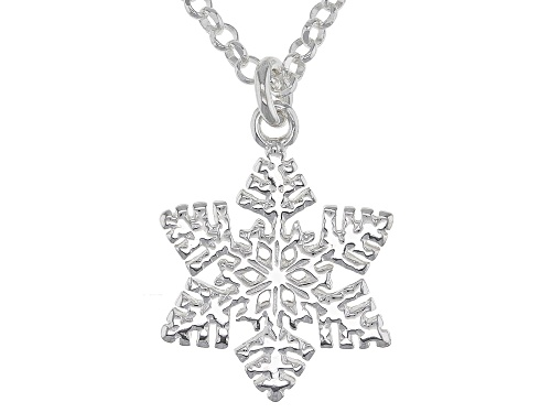 Photo of Sterling Silver Snow Flake Pendant With 18 Inch Cable Chain