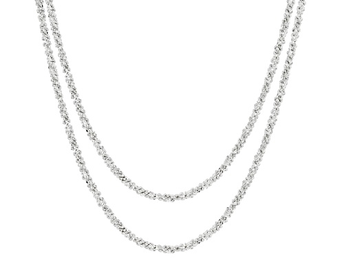 Photo of Sterling Silver Diamond Cut Criss Cross Chain Necklace Set 18 and 20 Inch