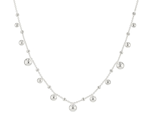 Photo of Sterling Silver Bead Station 18 Inch Necklace - Size 18