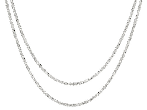 "Photo of Sterling Silver Marguerita Chain Necklace Set of Two 18"" and 20""."