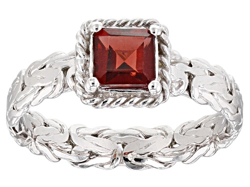 Photo of 0.75ct Square Garnet Rhodium over Sterling Silver Byzantine with Rope Accent Ring - Size 8