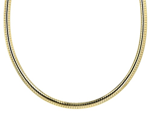 Photo of 18K YELLOW GOLD OVER STERLING SILVER 6MM POLISHED OMEGA 18 INCH NECKLACE - Size 18