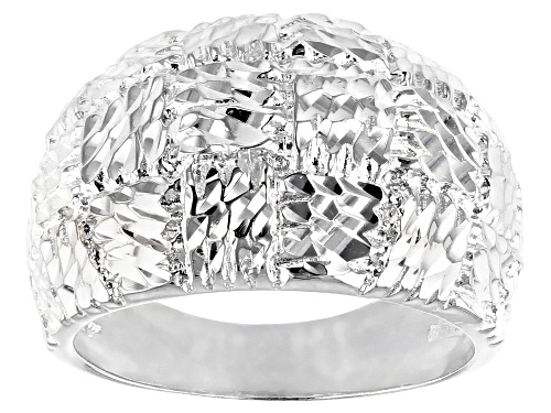 Photo of Sterling Silver Textured Basket-Weaved Dome Ring - Size 8