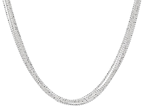 Photo of Sterling Silver Multi-Strand Diamond Cut Bead Chain Necklace 18 inch - Size 18
