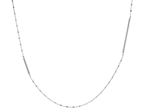 Photo of Sterling Silver Elongated Bar Station 36 Inch Rolo Necklace - Size 36