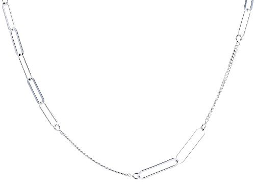 """Photo of Sterling Silver 4.50MM """"Paperclip"""" Station 36"""" Curb Chain Necklace - Size 36"""
