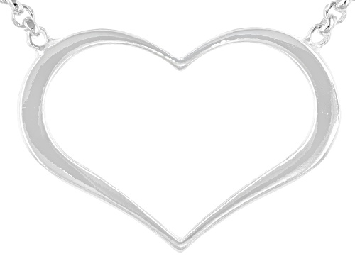 Photo of Sterling Silver Heart 18 Inch Rolo Adjustable Necklace - Size 18