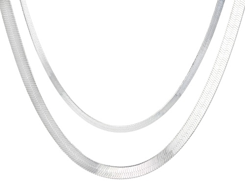 Photo of Sterling Silver Double Herringbone 18 Inch Necklace - Size 18