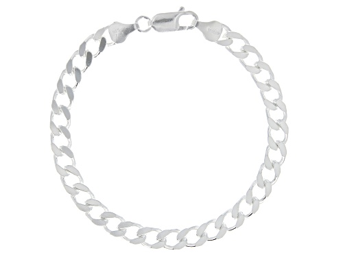 Photo of Sterling Silver 5.70MM Faceted Curb Bracelet - Size 7.25