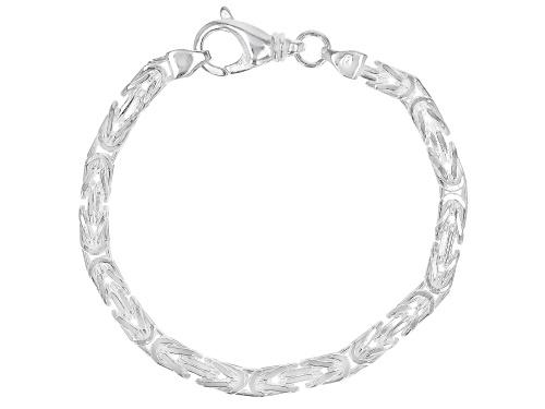 Photo of Sterling Silver 4.70MM Squared Byzantine 7.5 Inch Bracelet - Size 7.5