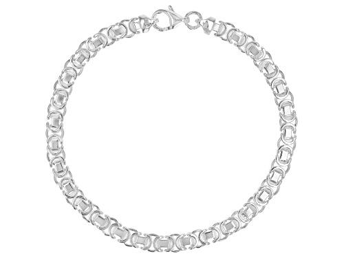 Photo of Sterling Silver 4.50MM Flat Byzantine 7.5 Inch Bracelet - Size 7.5