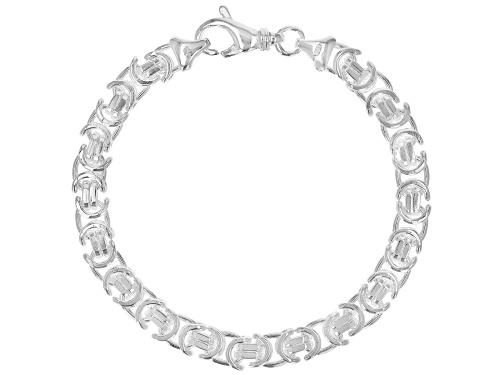 Photo of Sterling Silver 6.80MM Flat Byzantine 7.5 Inch Bracelet - Size 7.5