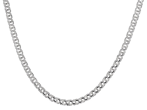 Photo of Sterling Silver Diamond-Cut 4.4MM Double Link Chain 18 Inch Necklace - Size 18