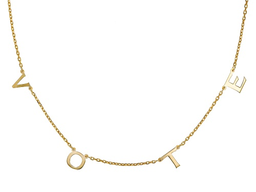 Photo of 18K Yellow Gold Over Sterling Silver VOTE Initial Cable Chain 18 Inch with 2 Inch Extender Necklace - Size 18