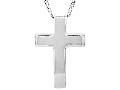 Photo of Sterling Silver Cross Pedant and 18 Inch Singapore Chain with 2 Inch Extender