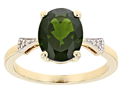 Photo of 2.65ct Oval Russian Chrome Diopside With .03ctw Round White Zircon 10k Yellow Gold Ring - Size 7