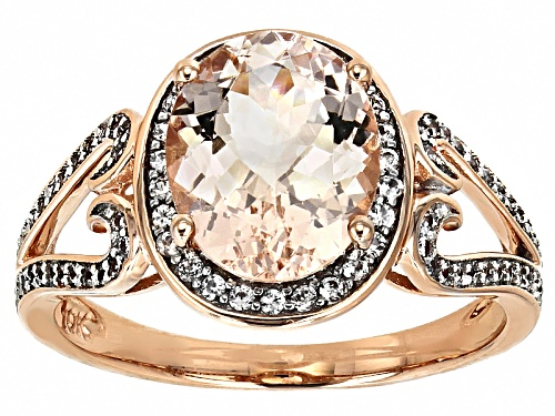 Photo of 2.20ct Oval Cor-De-Rosa Morganite™ With .46ctw Round White Zircon 10k Rose Gold Ring. - Size 8