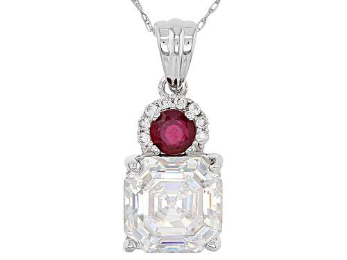 Photo of 4.61ct Fabulite Strontium Titanate & .48ct Mahaleo® Ruby & Zircon 10k White Gold Pendant & Chain