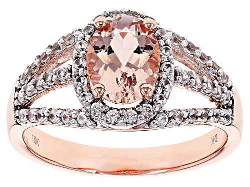 Photo of 1.02ct Oval Cor-De-Rosa Moraganite™ With .48ctw Round White Zircon 10k Rose Gold Ring - Size 7
