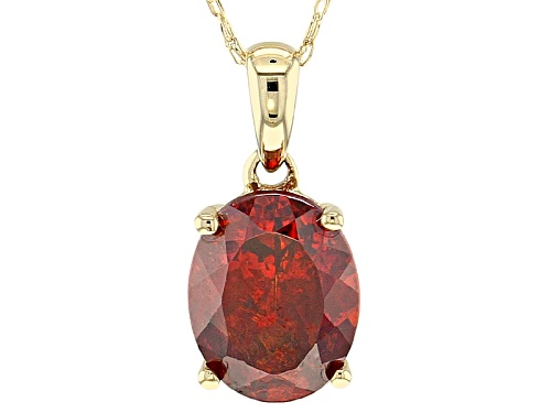 Photo of 2.12ct oval sphalerite solitaire 10k yellow gold pendant with chain.