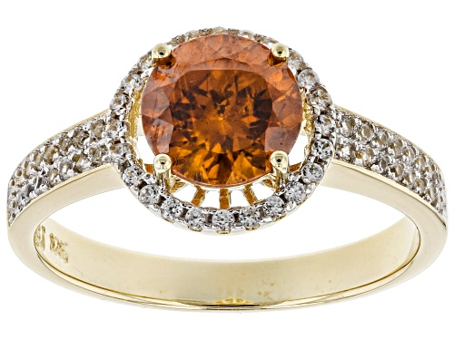 Photo of 1.65ct round sphalerite with .35ctw round white zircon 10k yellow gold ring. - Size 7