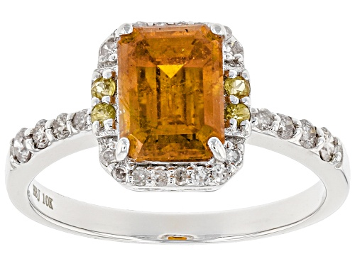 Photo of 2.16ct emerald cut sphalerite, .04ctw yellow sapphire and .22ctw white diamond 10k white gold ring - Size 9