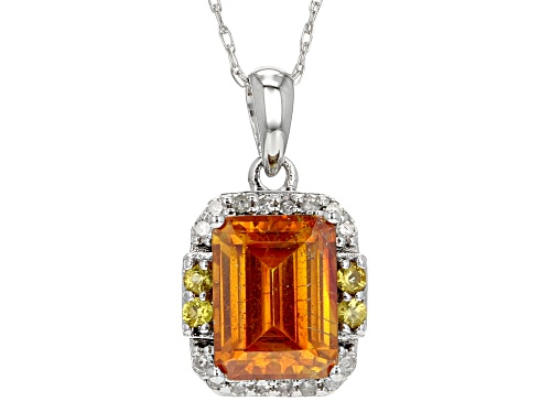 Photo of 2.16ct sphalerite, .04ctw yellow sapphire & .07ctw diamond accent 10k white gold pendant w/chain