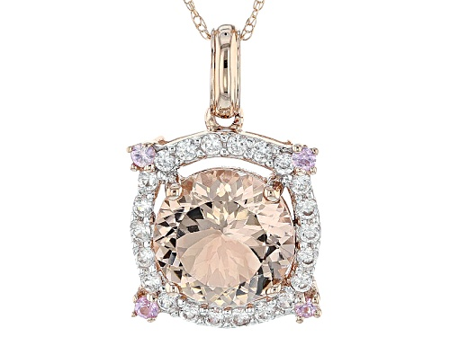 Photo of 1.93ct Cor-De-Rosa Morganite™, .42ctw Pink Sapphire & White Zircon 10k Rose Gold Pendant W/Chain