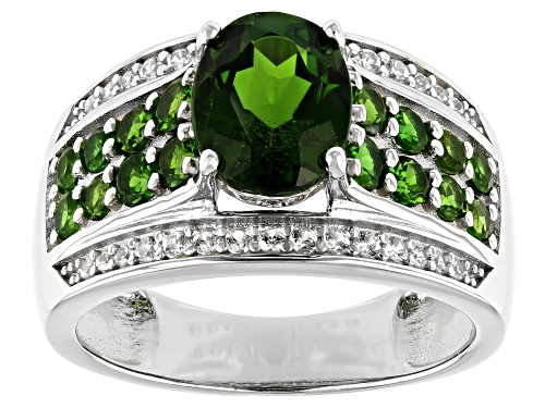 Photo of 1.63ctw Oval & .70ctw Round Chrome Diopside, .20ctw Zircon Rhodium Over Silver Ring - Size 8