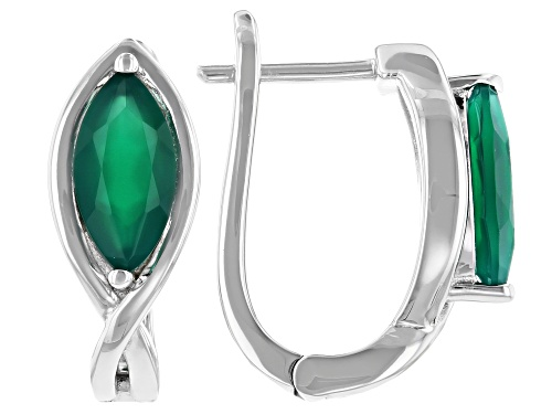 Photo of 1.43ctw Marquise Green Onyx Rhodium Over Silver Earrings