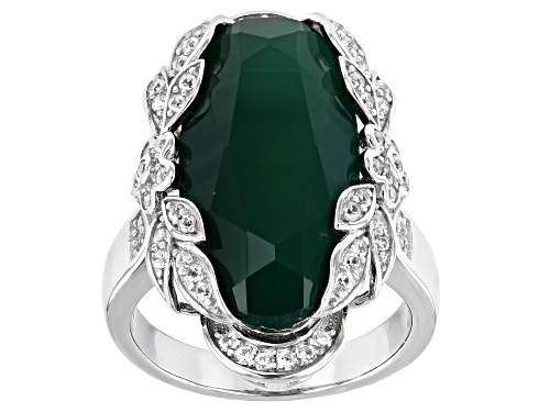 Photo of 9.35ct oval Green Onyx with .47ctw Zircon Rhodium Over Silver Ring - Size 7